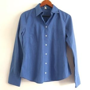 J. Crew Solid Blue Button Down Long Sleeve Top